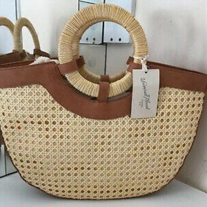 Universal Thread Half Moon Satchel Handbag Natural